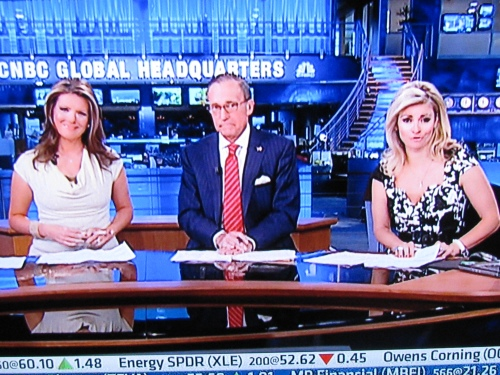 Trish Regan, Larry Kudlow and Amanda Drury